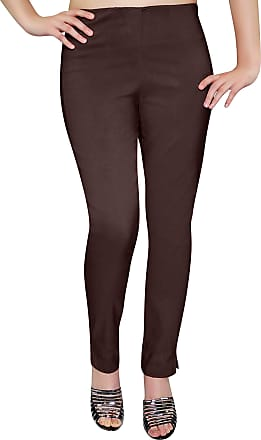 Eyecatch Eye Catch - Ladies Pull On Straight Smooth Super Stretch Elasticated Trousers Womens Pants Brown Size 16