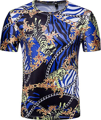 Xue 2018 New Fruit of The Loom Mens Classic T-Shirt Palace Flower Chain Print Short Sleeves Casual Half Sleeve Tee Mens Wear (Size : M, Style : A)