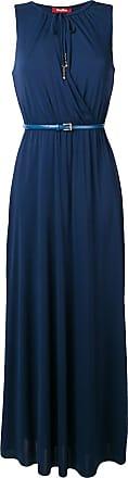 Max Mara Vestido longo com cinto - Azul