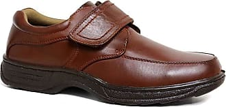 Cushion-Walk Mens Leather-Lined Lightweight Formal Business Work Comfort Lace-Up, Slip-on or Touch Fastening Shoes Size 6-11 Wide Fitting (Tan. Strap, Numeric_7)