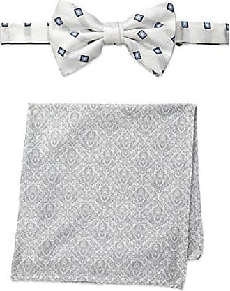 Steve Harvey Mens Satin Grid Bowtie and Brocade Pocket Square, White, One Size