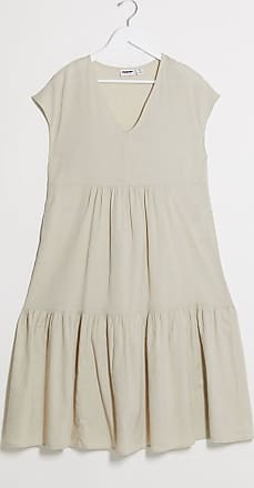 Noisy May Vestito grembiule midi in lino beige