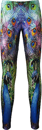 Insanity Bright and Colourful Peacock Feathers Animal Print Leggings (S)