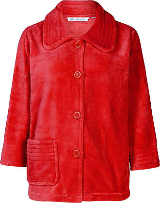 Slenderella Ladies Red 3/4 Sleeve Soft Red 260GSM Fleece Button Up Bed Jacket Medium