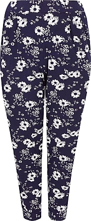 Yours Clothing Women/'s Plus Size Navy Double Pleat Jersey Harem Trousers