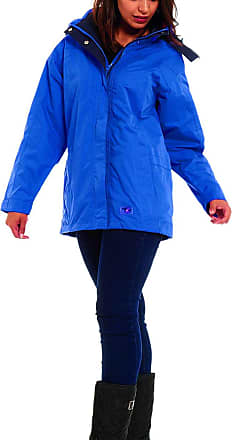 Shelikes New Womens Hooded Plain Lightweight Waterproof Rain Mac (UK16, Seawave)