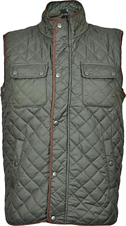 True Face Mens Bodywarmer Gilet Quilted Jacket Padded Lined Vest Sleeveless Top Buttoned Zip Up Regular Fit Waistcoat Green Small