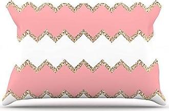 KESS InHouse Monika Strigel Avalon Coral Chevron White Blush Standard Pillow Case, 30 by 20-Inch