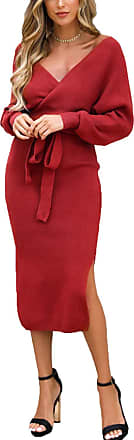 Yidarton Womens Jumper Dress Knitted Dress Sweater Dress Elegant V-Neck Backless Long Sleeve Tunic Dress with Belt (Style-4, XL)