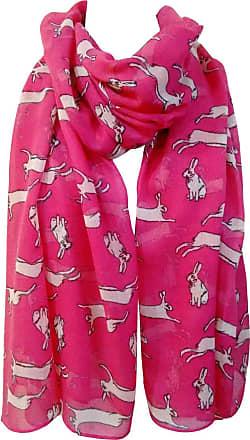GlamLondon Rabbit Print Scarf, Hare Bunny Animal, Womens Ladies Fashion Soft Big Shawl Sarong Wrap (Z1-Hare-Fuchsia)