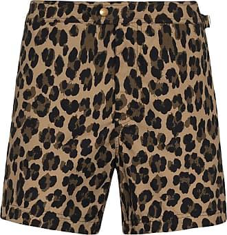 Tom Ford Short de natação com estampa de leopardo - Marrom