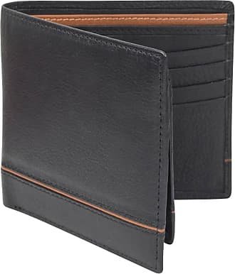 Dents Mens Smooth Two Tone Removable Pass holder and RFID Blocking Wallet - Black/Saddle Brown