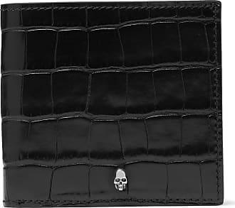 Alexander McQueen Croc-effect Leather Billfold Wallet - Black