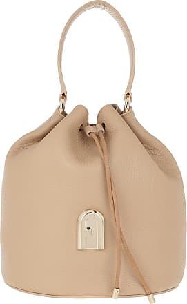 Furla Sleek Small Drawstring Sand Toni Cognac Bucket Bags beige