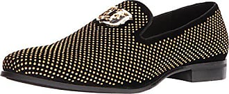 Stacy Adams Mens Swagger Studded Ornament Slip-On Driving Style Loafer, Black/Gold, 11.5 M US