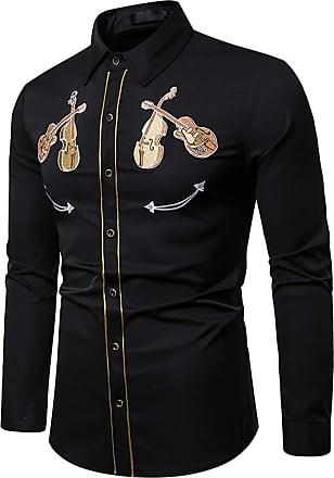 Whatlees Mens Dress Shirt Embroidery Guitar Button Down Long Sleeve Shirts 02010254XBlack+XL