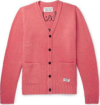 Wacko Maria Logo-embroidered Intarsia Wool Cardigan - Pink