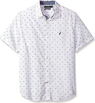 Nautica Mens Short Sleeve Printed Button Down Shirt, Bright White, Small