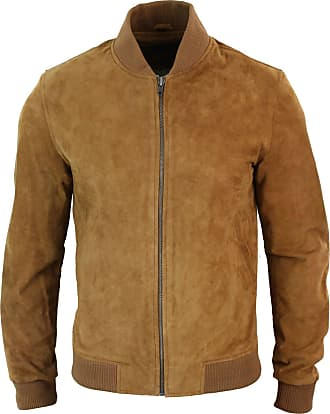 Infinity Mens Real Suede Leather Varsity Bomber College Jacket Classic Retro Vintage Camel Black