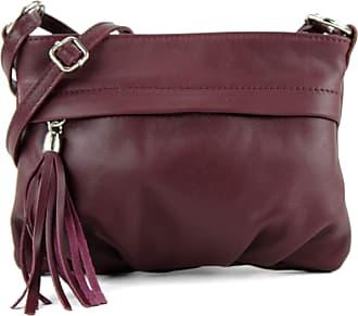 modamoda.de modamoda - ital. Shoulder Bag Handbag shoulder bag ladies bag leather mini T32, Colour:Bordeaux violet
