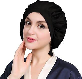LilySilk 100% Mulberry Silk Night Sleep Cap Black Bonnet for Hair Loss Women Sleeping Hat 19 Momme Soft Traceless Flat Cap