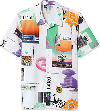 LRG Young Men/'s Lifted Research Group Short Sleeve Woven Button Up Shirt