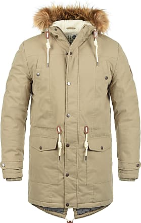 Solid Dry Mens Long Winter Parka Jacket With high closing Collar and Hood with Fur Collar Made of High Quality Material - Beige - 0-3 Months