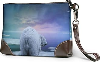 GLGFashion Womens Leather Wristlet Clutch Wallet Bear Pattern Storage Purse With Strap Zipper Pouch