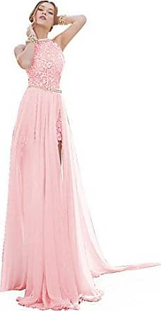 MisShow Damen Elegant A-Linie Chiffon Abendkleid Brautjungfernkleid Ballkleid R/ückenfrei lang 32-46