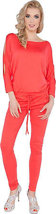 FUTURO FASHION Womens Jumpsuit with Pockets Boat Neck Open 3/4 Sleeve Playsuit Sizes 8-14 1081 Coral