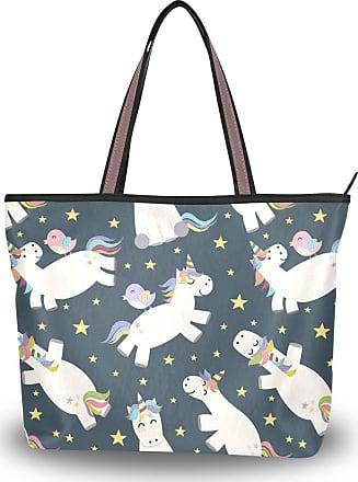 Lorona Women Unicorn Pattern Canvas Shoulder Hand Bag Large Capacity Tote Bag