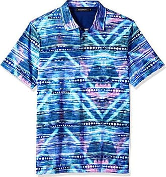 3fe884e43 Bugatchi Mens Soft Finish Fitted Multi Dimensional Print Polo Shirt,  Turquoise, M