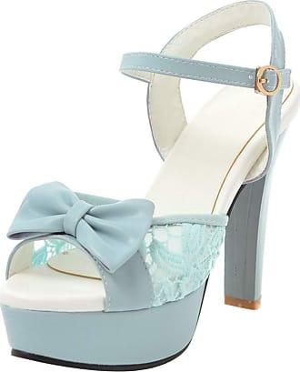 Mediffen Wedding Shoes Women High Heels Peep Toe Platform Sandals Elegant Ladies High Heeled Sandals Evening Party Ankle Strap Sandals Blue Size 41 Asian