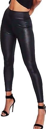 Islander Fashions Womens Wet Look PVC High Waist Legging Ladies Shinny Fancy Disco Party Wear Pants Black Medium/Large