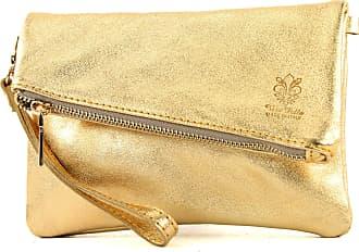 modamoda.de ital leather bag small ladies bag shoulder bag Clutch Wrist Bag leather T95, Colour:Gold Metallic