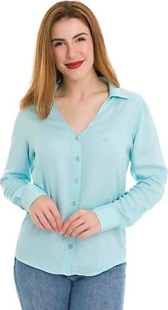 Olimpo Camisaria Camisa Camisete Feminino Olimpo Viscose Decote V Manga Longa Azul