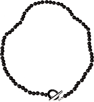 Gucci Onyx Bead Silver Necklace