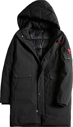 H&E Mens Casual Overcoat Plus Size Hooded Mid-Length Thick Parka Coat Black 4X-Large