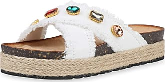 Scarpe Vita Women High-Heeled Sandals Mules Rhinestone Bast 190577 White UK 6.5 EU 40