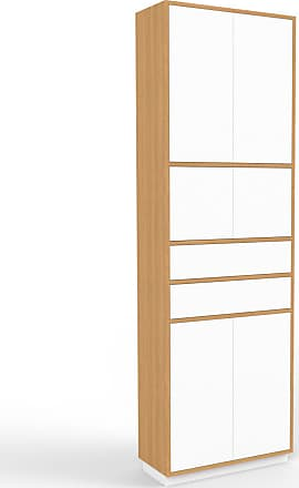 MYCS Aktenschrank Eiche - Büroschrank: Schubladen in Weiß & Türen in Weiß - Hochwertige Materialien - 77 x 239 x 35 cm, Modular