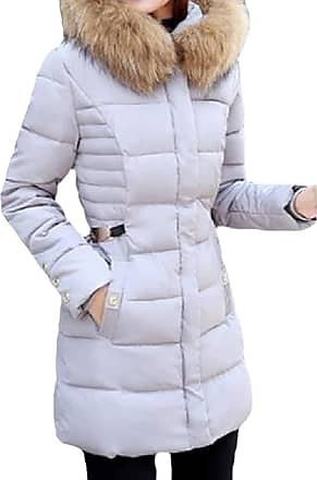 VITryst Womens Thicken Puffer Hooded Zipper Warm Mid Length Down Outwear Jackets with Pockets,Gery,X-Large