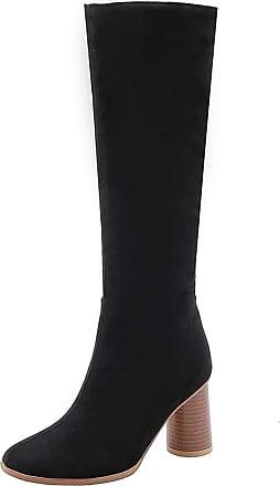Vimisaoi Womens Knee High Boots, Round Toe Chunky Mid Heel Back Zipper Mid Calf Boots