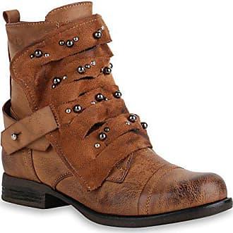 ce506736c331c2 Stiefelparadies Damen Stiefeletten Biker Boots Stiefel Leicht Gefütterte  Schuhe 151383 Hellbraun Agueda 37 Flandell