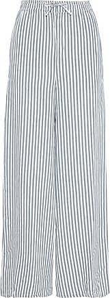 Onia Onia Woman Chloe Striped Gauze Wide-leg Pants Grey Green Size XS