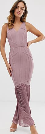 Lipsy Vestito lungo a fascia viola polvere con fondo a sirena plissettato
