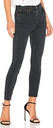 Re/Done Originals High Rise Ankle Crop with Stretch in Black