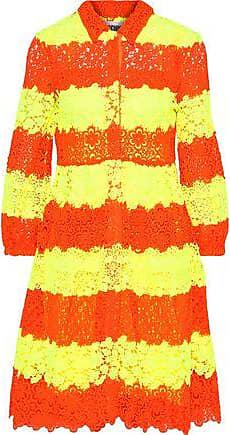 Moschino Moschino Woman Neon Striped Crochet And Guipure Lace Dress Bright Yellow Size 40
