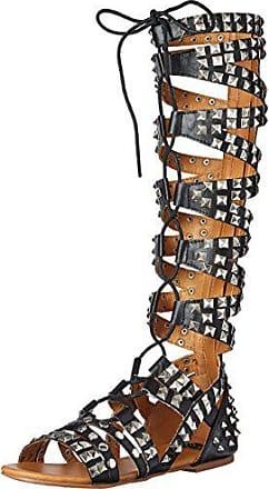 ec276fb08a32 N.Y.L.A. Womens Anpunk Gladiator Sandal Black 11 M US