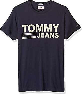 dbc6e609 Tommy Hilfiger Tommy Jeans Mens Logo T-Shirt with Short Sleeves, black iris,