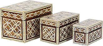 UMA Enterprises Inc. Deco 79 43424 Decorative Box, Dark Brown/Off-White